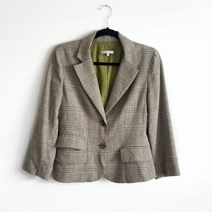 Vince Plaid Wool Blend Fitted Blazer